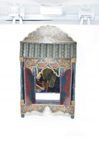 Speccio Da Parete In Legno A Forma Di Casa Araba Verde Scuro 57 X 33 Cm