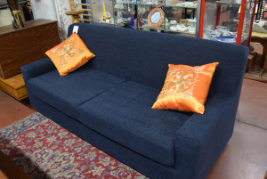 Sofa Blue 3 Seats New In Fabric Removable Cover