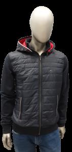 Felpa/Giubbotto uomo con cappuccio e tessuto tecnico  | colore grigio-rosso tommy hilfiger