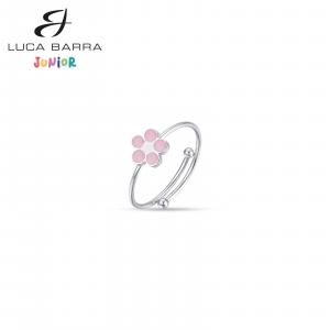 Anello bimba in acciaio con fiore rosa JA102 Luca Barra Junior