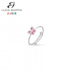 Anello bimba in acciaio con farfalla rosa JA104  Luca Barra Junior