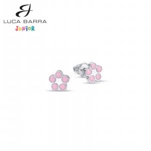 Orecchini bimba in acciaio fiori rosa JO102 Luca Barra Junior