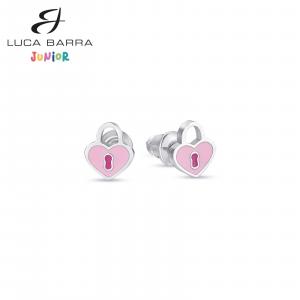 Orecchini bimba in acciaio lucchetti cuore rosa JO103 Luca Barra Junior