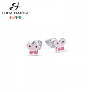 Orecchini bimba in acciaio farfalle rosa Luca Barra Junior JO104
