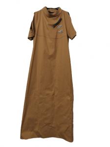 Abito lungo donna | colore kaki | manica corta | collo tondo | cotone stretch | Made in Italy
