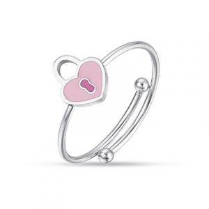 Anello bimba in acciaio con cuore lucchetti JA103 Luca Barra Junior