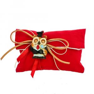 Sacchetto busta lettera con strappo tessuto rosso Laurea