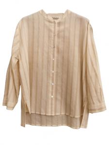 Camicia donna   collo coreana  manica lunga   abbottonatura anteriore   riga con lurex   colore beige con riga sabbia   Made in Italy