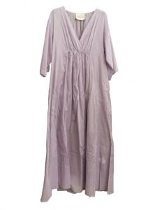 Abito lungo donna | colore lavanda | mussola di cotone | modello kimono | scollo a V |manica 3/4 | tagliato sotto il seno | Made in Italy