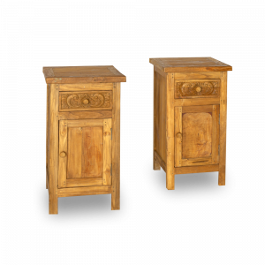 Comodino in legno di teak con cassetto ed anta