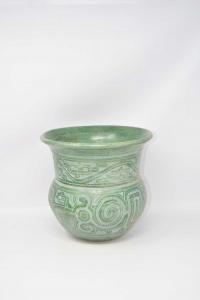 Vase Green In Terracotta Hand Made Brasile 23x24 Cm