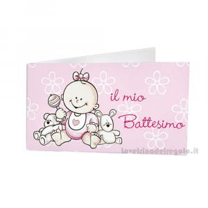 20 pz - Bigliettino bomboniere Battesimo Bimba 4.5x2.5 cm - Cod. 3813