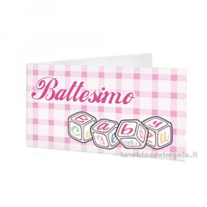 20 pz - Bigliettino bomboniere Battesimo Bimba 4.5x2.5 cm - Cod. 3814