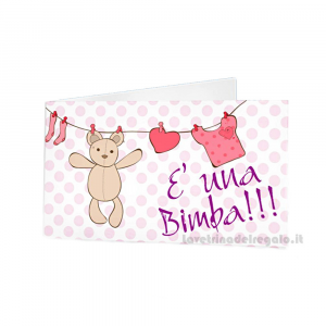 20 pz - Bigliettino bomboniere Battesimo Bimba 4.5x2.5 cm - Cod. 3821