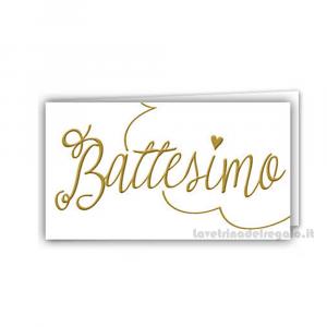 20 pz - Bigliettino bomboniere Battesimo Bimbi 4.5x2.5 cm - Cod. 3824