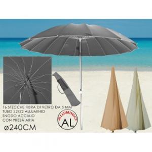 Ombrellone Da Spiaggia In Vari Colori Assortiti Con Snodo 240 centimetri Allungabile 16 Stecche Coprenza Massima Giardino Estate