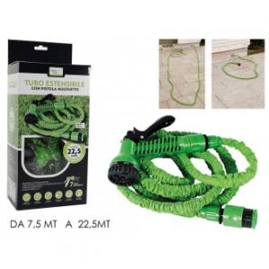 Tubo Con Kit Per Innaffiare Giardino Colore Verde Con Vari Irrigatori Allungabile da 7,5 mt fino a 22x5 mt Ideale Per Giardino Innaffiare