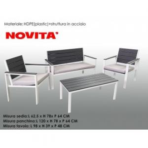 Set Panchina Con 2 Sedie e Tavolo Per Esterno Colore Nero e Bianco In Plastica Resistente Casa Esterno Giardino