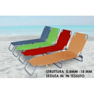 Lettino Da Spiaggia In Tessuto Colori Assortiti Con Struttura In Metallo Inclinabile Casa Giardino Piscina