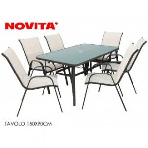 Set Tavolo Con 6 Sedie 150x90 cm Struttura Nera Sedia Bianca Panna Per Esterno Giardino Casa