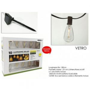 Catena Con 10 Lampade A Led In Vetro Fragile Alimentato Con Luce Solare Per Abbellire Casa Con Corda