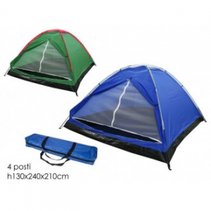 Tenda Da Campeggio 4 Posti 2,40x2,10x1,3 Metri Colori Disponibili Blu e Verde Ideale Per Esterno Pratica Facile Da Richiudere