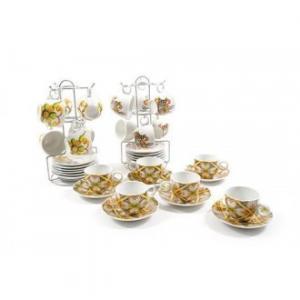 Confezione di 6 Tazze per il Caffè Con Piattino Con Base in Acciaio Per Appenderli Casa Cucina
