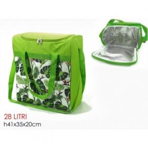 Borsa Termica Capacità Massimo 28 Litri Colore Verde Decorato Con Manico Pratico Maneggevole Per Viaggi