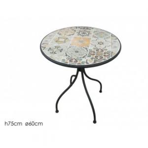 Tavolo Tondo 60 cm Per Esterno Giardino Con Struttura in Ferro Nero e Decorato Floreale Esterno Arredare Giardino Casa