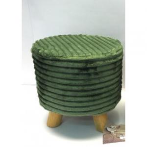 Sgabello Tondo In Velluto Colore Verde Con Striature Con 4 Piedi Di Appoggio 28x29 cm Casa Arredo