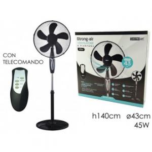 Ventilatore Alto 140 cm Con 5 Livelli di Potenza Colore Nero Con Telecomando Ideale Nella Stagione Estiva 45 Watt Elettrodomestici Casa
