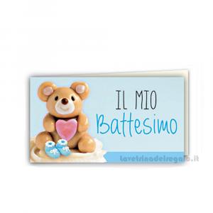 20 pz - Bigliettino bomboniere Battesimo Bimbo 4.5x2.5 cm - Cod. 3832