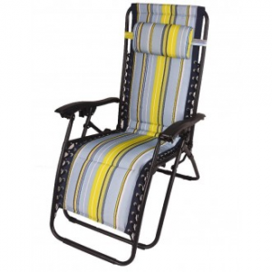 Sedia A Sdraio Relax Multicolore Imbottita Struttura in Metallo Nero Casa Giardino Con Poggia Testa Comoda Confortevole Casa