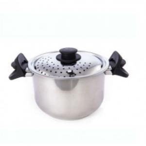 Pentola Scolabella In Acciaio Inox 20 cm Con Coperchio Provvisto di Fori Casa Cucina