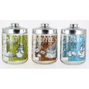 Original Tris Barattoli Per Zucchero Caffè e Sale Contenitori Decorati Casa Cucina