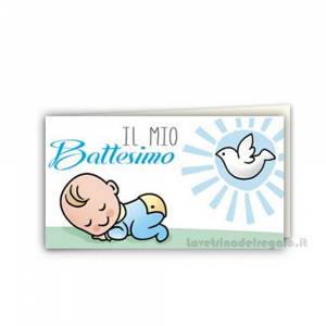 20 pz - Bigliettino bomboniere Battesimo Bimbo 4.5x2.5 cm - Cod. 3833