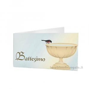 20 pz - Bigliettino bomboniere Battesimo Bimbi 4.5x2.5 cm - Cod. 3836