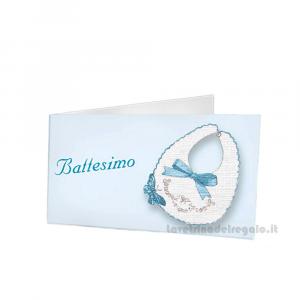 20 pz - Bigliettino bomboniere Battesimo Bimbo 4.5x2.5 cm - Cod. 3837