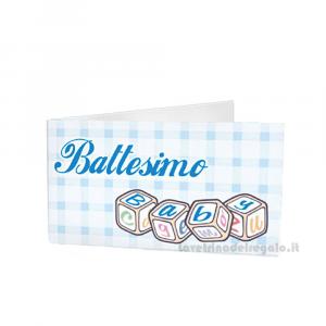20 pz - Bigliettino bomboniere Battesimo Bimbo 4.5x2.5 cm - Cod. 3840