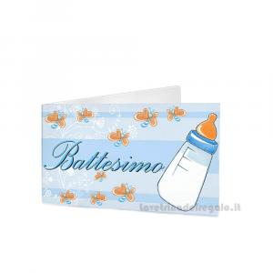20 pz - Bigliettino bomboniere Battesimo Bimbo 4.5x2.5 cm - Cod. 3847