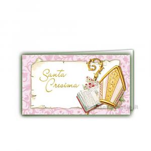 20 pz - Bigliettino bomboniere Santa Cresima ragazza 4.5x2.5 cm - Cod. 3853