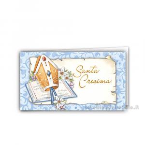 20 pz - Bigliettino bomboniere Santa Cresima ragazzo 4.5x2.5 cm - Cod. 3854