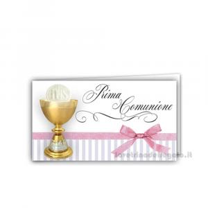 20 pz - Bigliettino bomboniere Prima Comunione bimba 4.5x2.5 cm - Cod. 3858
