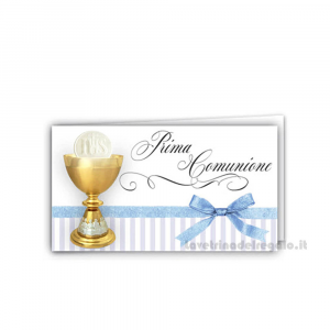 20 pz - Bigliettino bomboniere Prima Comunione bimbo 4.5x2.5 cm - Cod. 3859