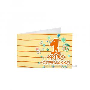20 pz - Bigliettino bomboniere Compleanno 1 anno  4.5x2.5 cm - Cod. 3879