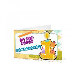 20 pz - Bigliettino bomboniere Compleanno 1 anno  4.5x2.5 cm - Cod. 3880