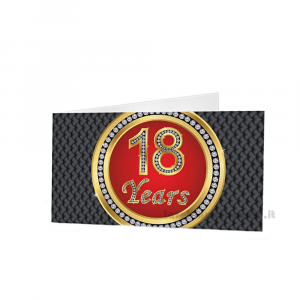 20 pz - Bigliettino bomboniere Compleanno 18 anni  4.5x2.5 cm - Cod. 3881