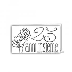 20 pz - Bigliettino bomboniere Nozze d'Argento  4.5x2.5 cm - Cod. 3883