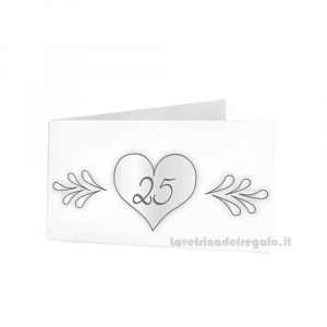 20 pz - Bigliettino bomboniere Nozze d'Argento  4.5x2.5 cm - Cod. 3884