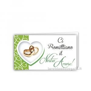 20 pz - Bigliettino bomboniere Prima Promessa Matrimonio 4.5x2.5 cm - Cod. 3894